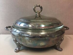 Vintage Sheffield Silver Co Silverplate Vegetable Tureen Usa Made Pyrex Insert