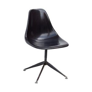 Black Fiberglass Swivel Side Shell Chair Pyramidal Base Krueger Burke Eames Era
