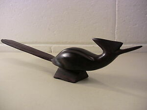 Vintage Bird Figurine Carved Rosewood Sculpture Wood Decoy Mid Century Decor