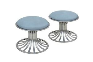 Pair Of Round Tulip Style Aluminum Ottomans By Russell Woodard Midcentury Patio