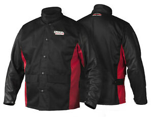 Lincoln K2987 Shadow Grain Leather Sleeved Welders Welding Jacket Size Large