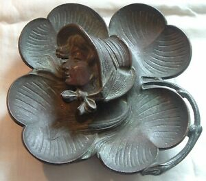 Antique Victorian Bronze Inkwell Figural Female 4 Leaf Lucky Clover Beautiful
