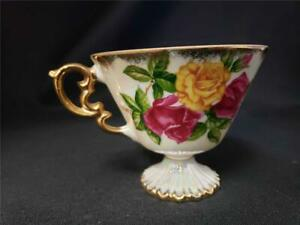 Vintage June Rose Coffee Tea Cup 3 1 4 Tall Gold Colored Trim Roses Inside