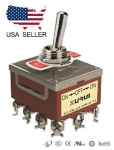 Heavy Duty 4pdt On off on Toggle Switch 20a 125v 15a 250v Screw Terminals 43b