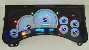 6mm New 03 07 H2 Hummer Premium Ss White Gauge Face Complete Blue Led Cluster