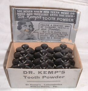 Antique Circa 1920 New Old Stock Nos Dr Kemp S Tooth Powder Full Case Tins