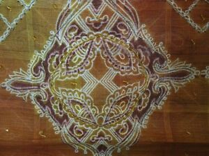 Vintage Sari Pure Cotton Silk Fabric Paisley Printed Beaded Deco Dress Ooak Wrap