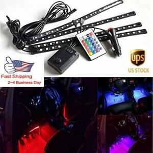 7 Colors Car Interior Led Light Strip Kit Sound Function Wireless Remote Control