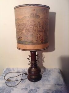 Nautical French Italian Wooden Table Lamp Light With Vintage Map Shade 2599