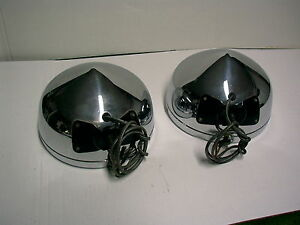 1930 1931 Nash Big Brass Headlight Head Lamp Pair Packard Studebaker Lasalle Fd