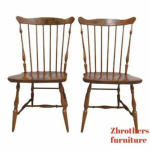 Pair Of Oak Hitchcock Windsor Back Side Chairs