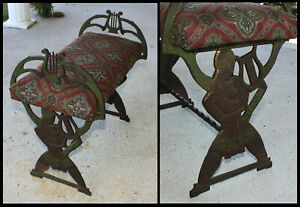 Antique Verona Egyptian Nude Figure Harp Old Cast Iron Fireside Piano Bench Seat