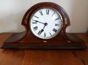 Vintage Mantle Clock Mother Of Pearl Inlay Wooden Case Converted Spares Repair