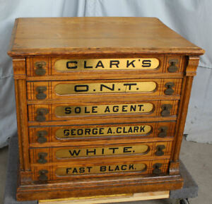 Antique Country Store Display Clark S Six Drawer Spool Cabinet