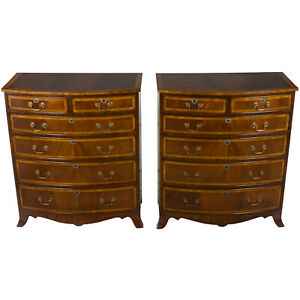 New Antique Style Pair Of Large Tall Bow Front Mahogany Chest Of Drawers Dresser
