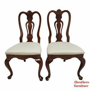 Lexington Cherry Chippendale Queen Ann Dining Room Side Chairs Shell Carved A