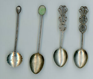 Lot Of Sterling Silver Souvenir Spoons Asian Characters