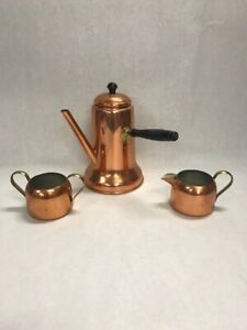 3 Pc Copper Tea Coffee Pot Handmade Lid Wood Handle Creamer Sugar Coppercraft