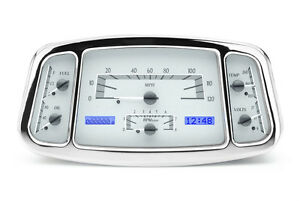 Dakota Digital 1933 34 Ford Car Analog Dash Gauge System Silver Blue Vhx 33f s b