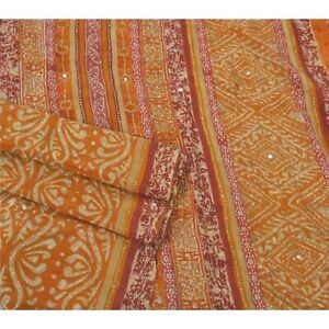 Sanskriti Orange Saree Pure Georgette Silk Hand Beaded Fabric Craft Sari
