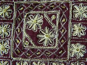 Vintage Sari Hand Beaded Dabka Art Silk Saree Fabric Craft Maroon Indian Dress