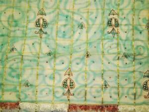 Vintage Sari Cotton Silk Check Saree Fabric Floral Craft Hand Beaded Dress Drape
