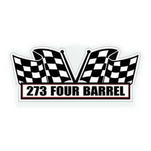 273 Four 4 Barrel Air Cleaner Engine Decal Fits Chrysler Muscle Car