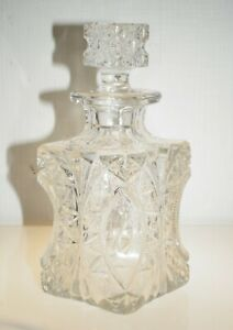 Antique American Prescut Glass Decanter Bottle With Stopper