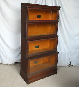 Antique Oak Sectional Bookcase Double Step Back Macey Original Finish