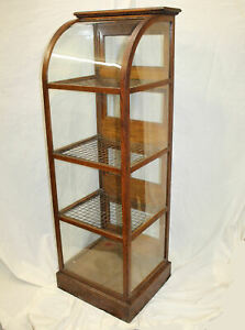 Antique Oak Country Store Pie Showcase Cabinet With Curved Glass