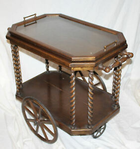 Antique Fancy Oak Tea Cart With Removable Serving Tray