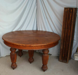 Antique Round Oak Dining Table With Five Legs 54 Diameter With 6 Leaves