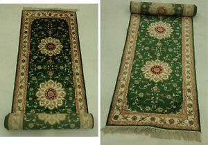 2 6 X 14 Classic Simple Traditional Finesse Handmade Green Runner Rug