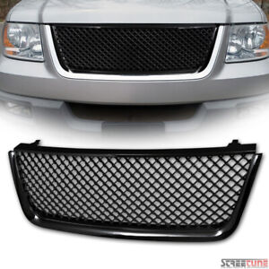 For 03 06 Ford Expedition Glossy Black Mesh Front Hood Bumper Grill Grille Guard
