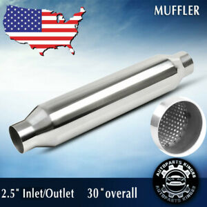 Exhaust Muffler Resonator 2 5 Inelt Outlet 24 Body Long Stainless Steel