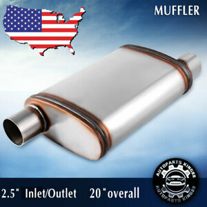 Universal Exhaust Muffler Resonator Stainless Steel 2 5 Inlet Outlet Single