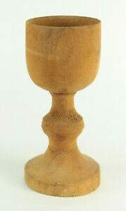 Antique Turned Carved Primitive Treen Ware Wooden Chalice Goblet Raised Cup
