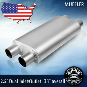 Chambered 2 5 Inlet Outlet Dual Dual Offset Performance Race Muffler 23 Long