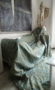 Pair Of Hangings Silk Damask Rubelli Blue Steel And Silver 19thcentury