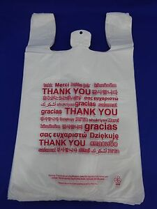 Multi Language Thank You T shirt Bags 11 5 X 6 X 20 5 Plastic Retail Shopping