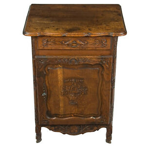 French Antique Hand Carved Oak Jelly Cupboard Small Cabinet Louis Xv Style Locks