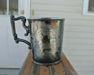 Antique Reed Barton Silver Plate Baby Christening Cup Ship Duck Monogram