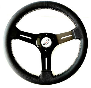 13 Universal Black Leather Steering Wheel Racing Hot Rods Cobra Sport Cars Rim