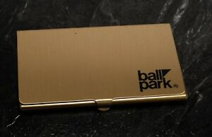 Rare Ball Park Good Morning America Gold Tone Business Card Holder Case Nos