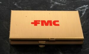 Rare fmc Corporation Gold Tone Steel Double Business Card Holder Case Nos