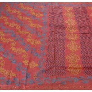 Sanskriti Vintage Pink Saree Pure Silk Pink Hand Beads Craft Fabric Printed Sari