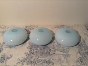 Set Three Vintage French Blue Glass Light Shades 1867 8 9