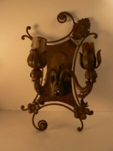 Antique Wrought Iron Tin Sconce 1920s Estate Spectacular