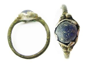 2nd 3rd Century Ad Ancient Roman Silver Finger Ring Blue Glass Gem Size 6 3 4