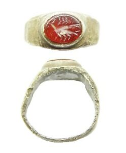 Excavated 2nd 3rd Century Ad Ancient Roman Silver Intaglio Ring Of A Scorpion